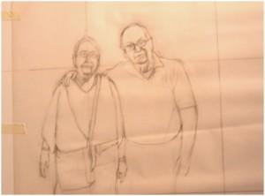 Drawing of Stephen and Lauretta Kaldor